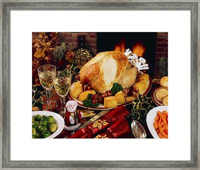 Christmas Turkey Dinner With Wine Framed Print by The Irish Image Collection