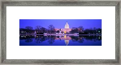 Christmas, Us Capitol, Washington Dc Framed Print