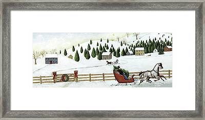 Christmas Valley Sleigh Framed Print by David Carter Brown