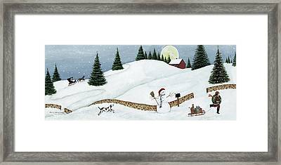 Christmas Valley Snowman Framed Print by David Carter Brown