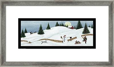 Christmas Valley Snowman With Black Border Framed Print by David Carter Brown