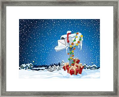 Christmas Winter Landscape Mailbox Gift Boxes Framed Print by Frank Ramspott