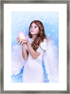 Christmas Wish Of An Angel Framed Print by Anna Om