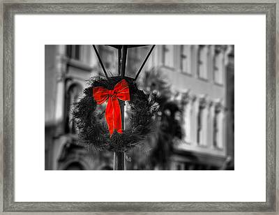 Christmas Wreath In Charleston Framed Print by Andrew Crispi