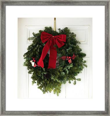 Christmas Wreath Framed Print by John Rizzuto