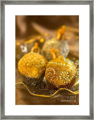 Christmasball Cupcakes In Golds Framed Print by Iris Richardson