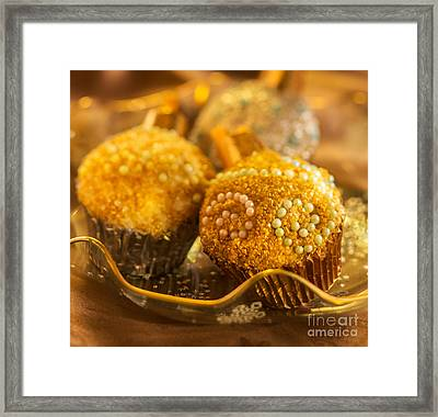 Christmasball Cupcakes In Golds Square Framed Print by Iris Richardson