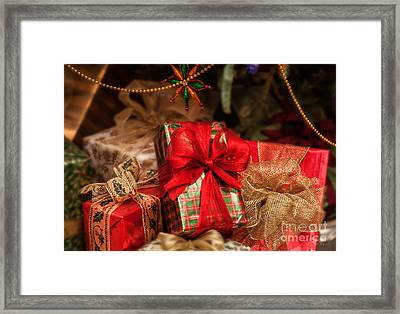 Christmasgift Under The Tree Framed Print by Iris Richardson
