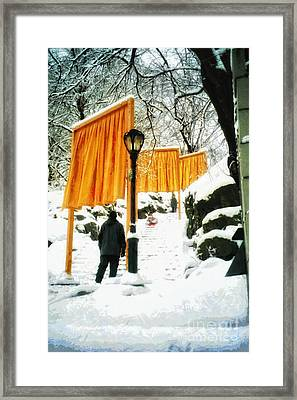 Christo - The Gates - Project For Central Park In Snow Framed Print by Nishanth Gopinathan