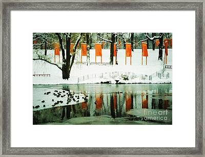 Christo - The Gates - Project For Central Park Reflection In Wat Framed Print by Nishanth Gopinathan