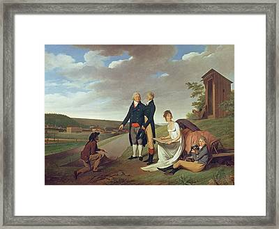 Christophe-philippe Oberkampf And Family In Front Of His Factory At Jouy, 1803 Oil On Canvas Framed Print by Louis Leopold Boilly