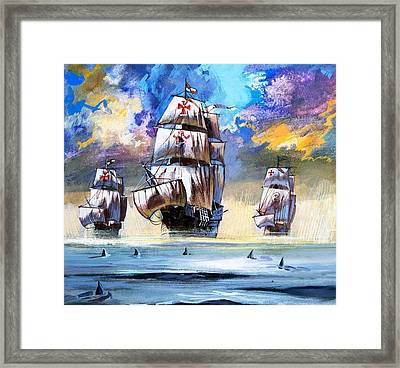 Christopher Columbus's Fleet  Framed Print by English School