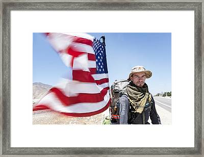 Christopher Senopole Walks Across America For The Wounded Warrior Project Framed Print by Carol M Highsmith