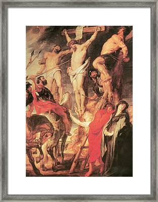 Christ's Side Pierced With A Lance Framed Print by Peter Paul Rubens