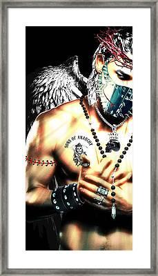 Christy Angel Mask Half Framed Print
