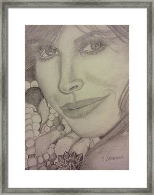 Framed Print featuring the drawing Christy Turlington by Christy Saunders Church