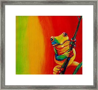 Chroma Frog Framed Print
