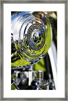 Chrome Harley Davidson Skull Casing Framed Print by Tim Gainey