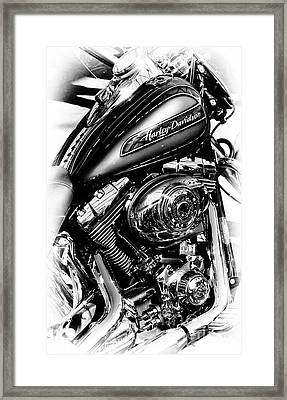 Chromed Harley Monochrome Framed Print