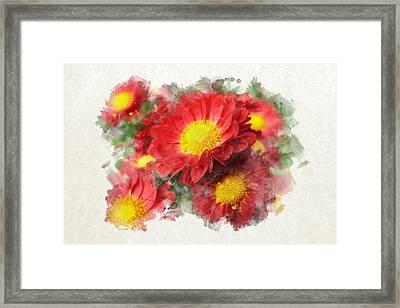 Chrysanthemum Watercolor Art Framed Print