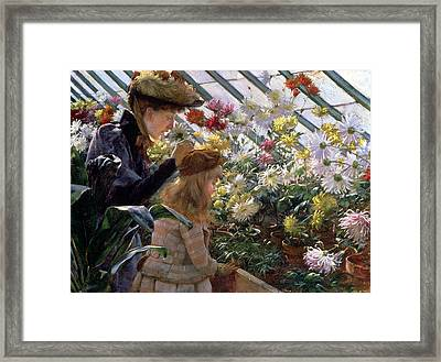 Chrysanthemums, 1890 Framed Print by Charles Courtney Curran