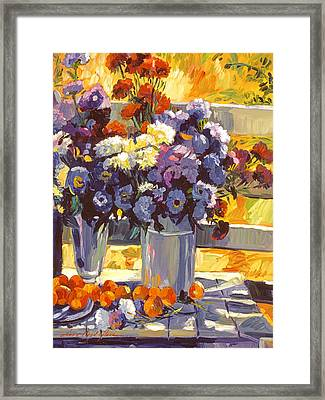 Chrysanthemums And Apricots 1986 Framed Print by David Lloyd Glover