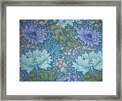 Chrysanthemums In Blue Framed Print by William Morris