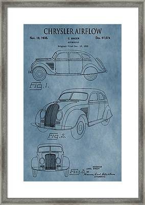 Chrysler Airflow Patent Blue Framed Print