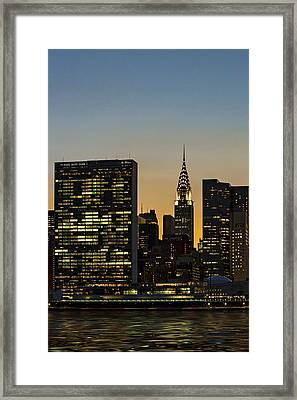 Chrysler And Un Buildings Sunset Framed Print