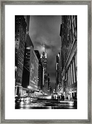 Chrysler Buiilding In Mist Framed Print by John Farnan