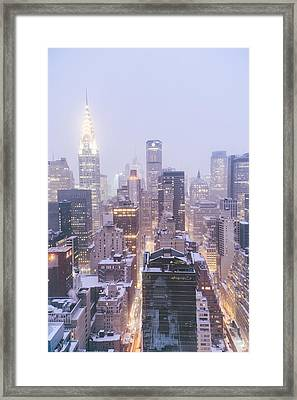 Chrysler Building And Skyscrapers Covered In Snow - New York City Framed Print