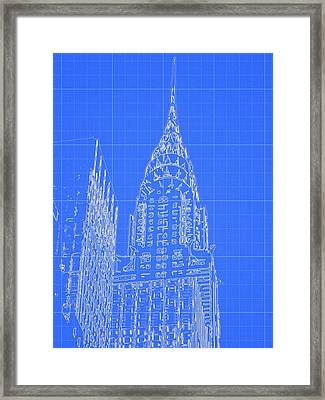 Chrysler Building Blueprint Sketch Framed Print by Dan Sproul