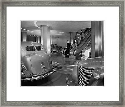 Chrysler Building Car Showroom Framed Print by Underwood Archives