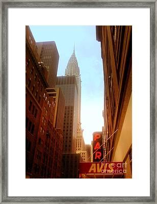 Chrysler Building Rises Above New York City Canyons Framed Print by Miriam Danar