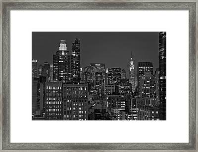Chrysler Building Twilight Bw Framed Print by Susan Candelario