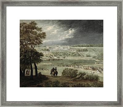 Château Of St. Germain-en-laye In 1655 Oil On Canvas Framed Print by Adam Frans van der Meulen