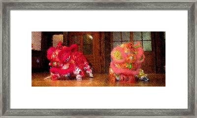 Chua Truc Lam Two Dragons - Fine Brush Framed Print by Shawn Lyte