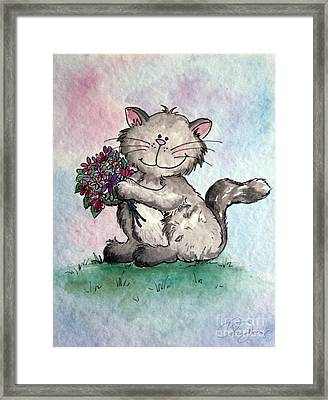 Chubby Kitty With Flowers Framed Print by Dani Abbott