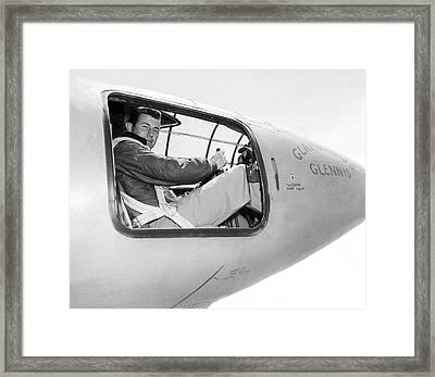 Chuck Yeager And Bell X-1 Framed Print by Underwood Archives