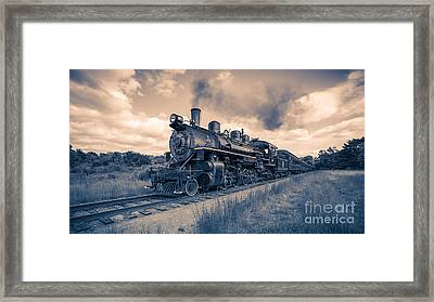 Full Steam Through The Meadow Framed Print by Edward Fielding