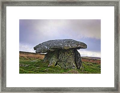 Chun Quoit An Ancient Burial Chamber On The Moors Of Cornwall Framed Print