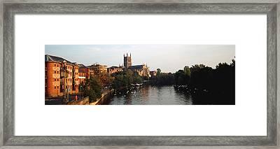 Church Along A River, Worcester Framed Print