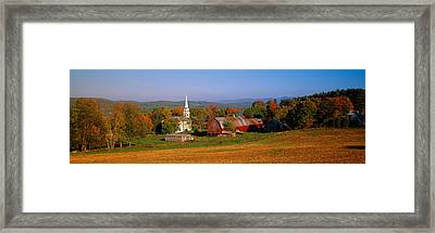 Church And A Barn In A Field, Peacham Framed Print by Panoramic Images