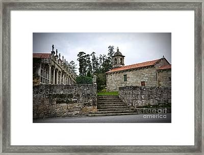 Church And Cemetery In A Small Village In Galicia Framed Print