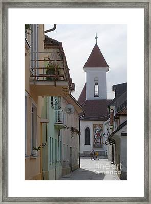 Church And Houses - Kranj - Slovenia Framed Print by Phil Banks