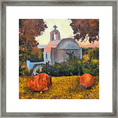 Church And Pots Framed Print