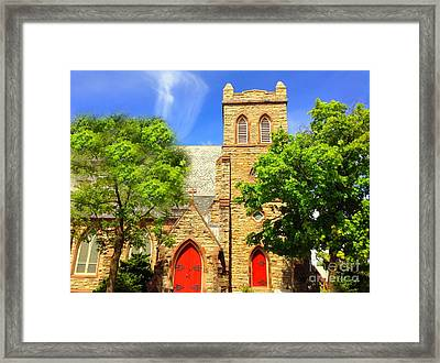 Framed Print featuring the photograph Church And Red Doors by Becky Lupe