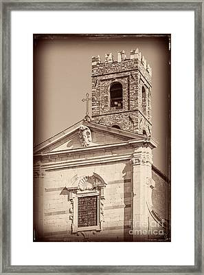 Church And Tower Closeup Framed Print