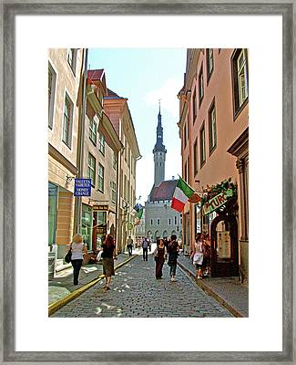 Church At End Of Street In Old Town Tallinn-estonia Framed Print by Ruth Hager