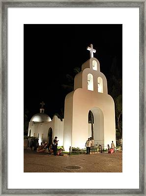 Church At Night In Playa Del Carmen Framed Print
